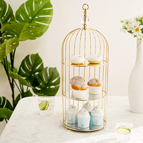 Efavormart 22' - 3 Tier Crystal Mirror Top Gold Metal Bird Cage Cupcake Cake Stand, Dessert Display for Wedding, Party, Birthday, Baby Shower Celebrations, Home Decorations