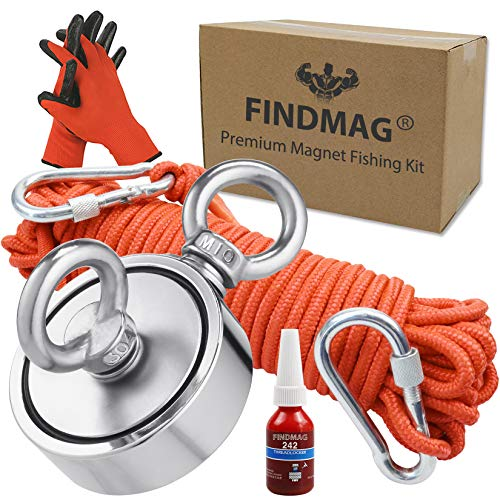 FINDMAG Double Sided Magnet Fishing Kit with Rope, Fishing Magnets 1000 lbs Pulling Force Magnet Fishing Kit for Retrieving Items in River, Lake, Beach, Lawn, 2.95