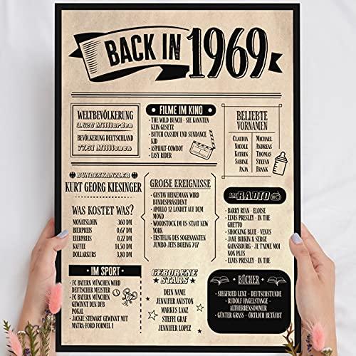 Holzbild: Alte Zeitung - Geschenk 52 Geburtstag Back in 1969 Vintage - personalisierbar zum Hinstellen/Aufhängen optional beleuchtet, 52 Geburtstag Frau - Wand-Bild Aufsteller - persönliches Geschenk