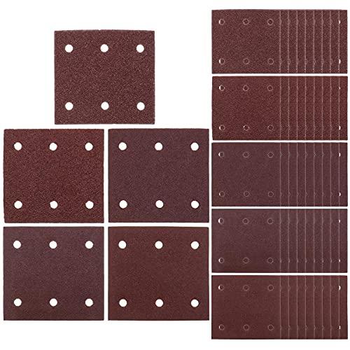 Juego de 50 discos de lija de 114 x 102 mm, grano 40/60/80/100/120, 6 agujeros para pulir madera y metal de plástico compatible con Makita BO4555 BO4554 BO4561