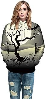 iLOOSKR Halloween Printed Shirt Men Women Mode Couples Hoodies Long Sleeve Shirts with Pockets