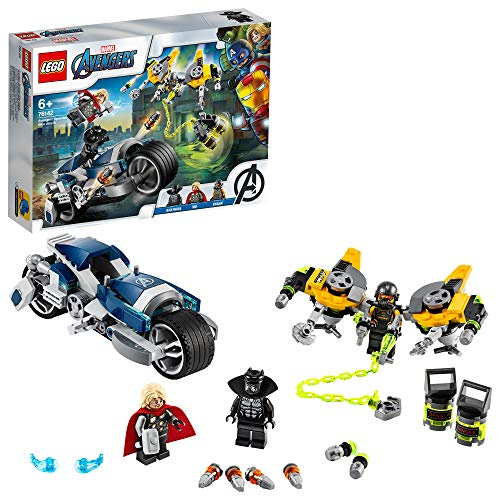LEGO SuperHeroes Avengers-AttaccodellaSpeederBike, Playset con Minifigure della Pantera Nera e Thor, 76142