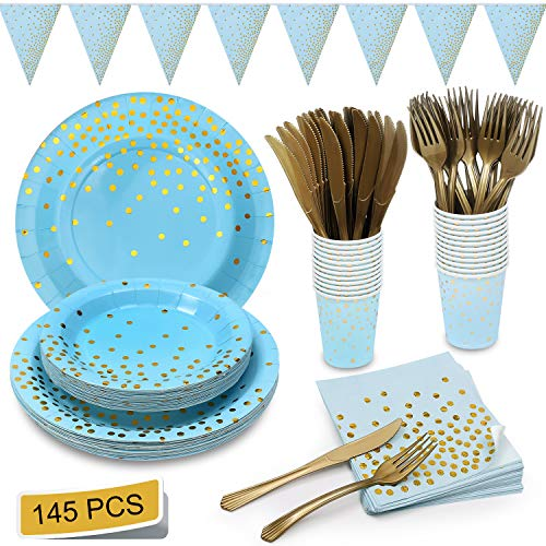 Gold Party Supplies Includes Paper Plates, Napkins, Knives, Forks, 12oz Cups, Banner, for Bachelorette, Girl Birthday, Baby Shower, Serves 25 (blue)