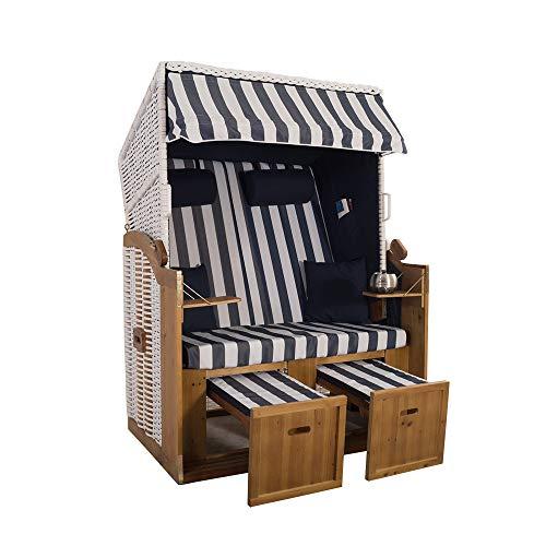 2-Sitzer Weiß Ostseestrandkorb Hörnum - Strandkorb Volllieger mit ausziehbaren Fußablagen – inkl. Nackenkissen und Kuschelkissen Set (Blockstreifen, Weiß-Blau)