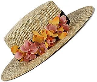 LiWen Zheng 100% Wheat Straw Women Sun hat Lady Summer Flat Prok Pie Beach Hat Caps With Flower