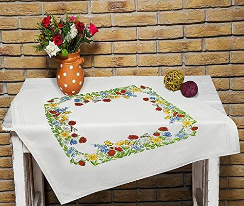 Kamaca Stickpackung Tischdecke SOMMERWIESE Kreuzstich vorgezeichnet aus Baumwolle Stickset mit Stickvorlage (Mitteldecke 80x80 cm)
