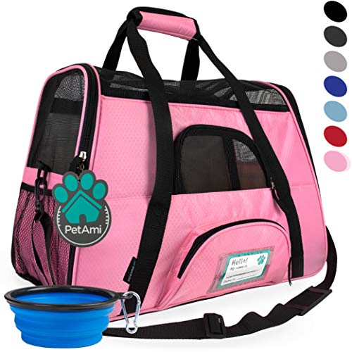 PetAmi Premium Airline Approved Soft-Sided Pet Travel Carrier | Ventilated, Comfortable Design with Safety Features | Ideal for Small to Medium Sized Cats, Dogs, and Pets (Small, Pink)