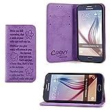 COOVY® Funda para Samsung Galaxy S6 SM-G920F SM-G920 Billetera, Ranuras para Tarjetas, Cierre magnético, Soporte, Protectora de Pantalla | Smile | Color Morado