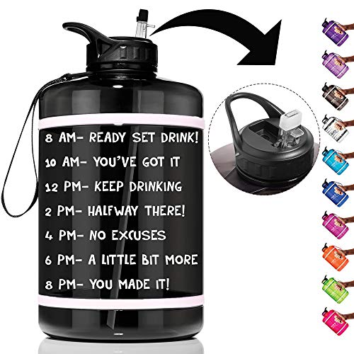 HydroMATE 1 Gallon Straw Motivational Water Bottle with Time Marker Large BPA Free Jug Handle Time Marked 5 Drink Marking Measures to Track Daily Water Intake One Gallon Hydro MATE (Gallon, Black)