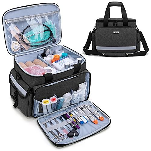 CURMIO Borsa medica, borsa per aiuti sanitari a domicilio con tracolla e 2 divisori staccabili per infermiere, fisioterapisti, medici, personale sanitario a domicilio, SOLO BORSA, Nero
