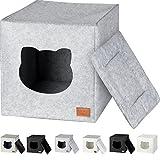 Cama de Gato by Incl. cojín   Casa de Gato Adecuada para IKEA Kallax & Expedit   Cueva Comoda en Gris óptica de Fieltro   Diseño Elegante y Moderno   (Grey Basic)