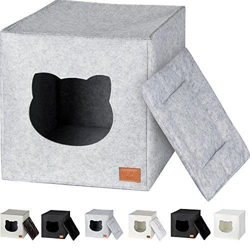 NEEZ Katzenhöhle für Regal in Weiß I Katze IKEA Regal kallax kletterwand katzenkorb (Basic Grau)