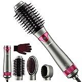 Haartrockner Warmluftbürste, 5 in 1 Hot Luftbürstentrockner Styler and Volumizer mit 2 austauschbaren Bürsten Negative ionische Haarglätter Lockenbürste für alle Haartypen von Wirhaut