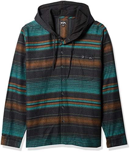 Billabong Men s Baja Long Sleeve Flannel Shirt with Hood Black X Large product image