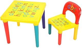 Mesa y Silla con Abecedario para Niños, Escritorio y Silla de Infantil Plastico para Jardín de Infancia Cuarto de Niños en Casa