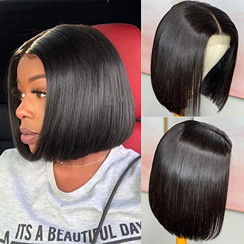 ShiningGirl Bob Lace Front Wigs Human Hair,Straight Human Hair Wigs For Women, 13x4 Lace Wigs Human Hair, 13A Brazilian Virgin Human Hair Wigs Pre Plucked with Baby Hair, 8Inch, Natural Black