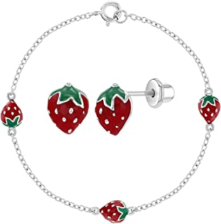 """925 Sterling Silver Red Enamel Fruit Strawberry Jewelry Set for Girl Teens 16"""""""