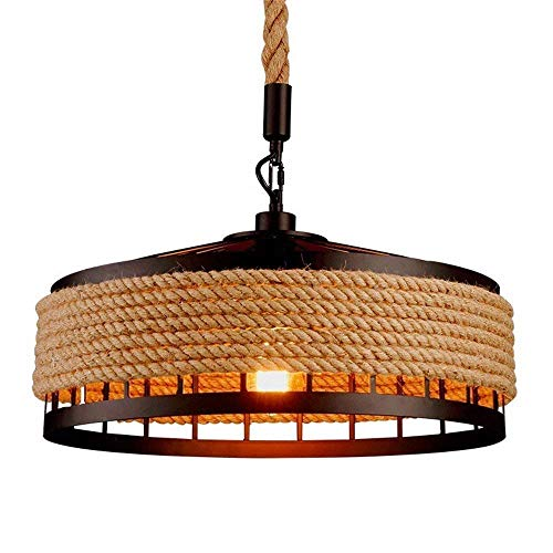 FMOGE Home lighting Hemp Rope Chandelier, Antique Rope Industrial Ceiling lamp, Creative Retro lamp, Chandelier, Bedroom, Living Room, Vintage Jute Iron lamp, Chandelier, 40 cm, Adjustable Length