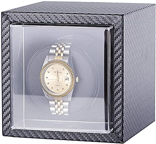 PLMOKN Reloj Winder Vertical Mini Single Watch Caja de enrollamiento Mecánico automático Winder Motor Silent Motor Watch Shaker Rotating Watch StorageHold (Color : Brown, Size : 12×12×13cm)