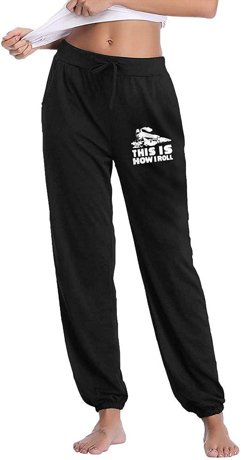 Sport outdoor 003 This is How I Roll Train Women's Drawstring Waist Cotton Long Sweatpant