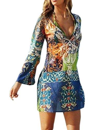 Damen Reizvolle V-Ausschnitt Lautsprecher Langen-Ärmeln Gedruckt Chiffonrock Strandkleid Lose Casual Beachwear Bikini Cover Up Minikleider Oberteile Bluse Sommerkleider, Mehrfarbig, Gr. 40 / XL