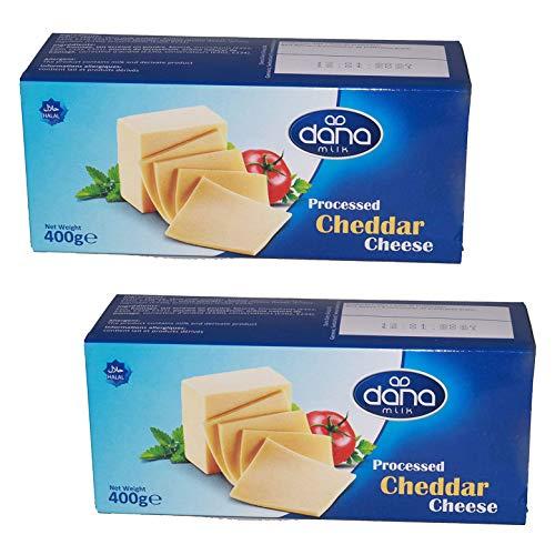 Dana Cheddar Schmelzkäse Block 400g Käse zum kochen für Makkaroni, Fondue, Pasta, Burger, Pizza, Auflauf, Soßen, Dips, lange haltbar (2er Pack)
