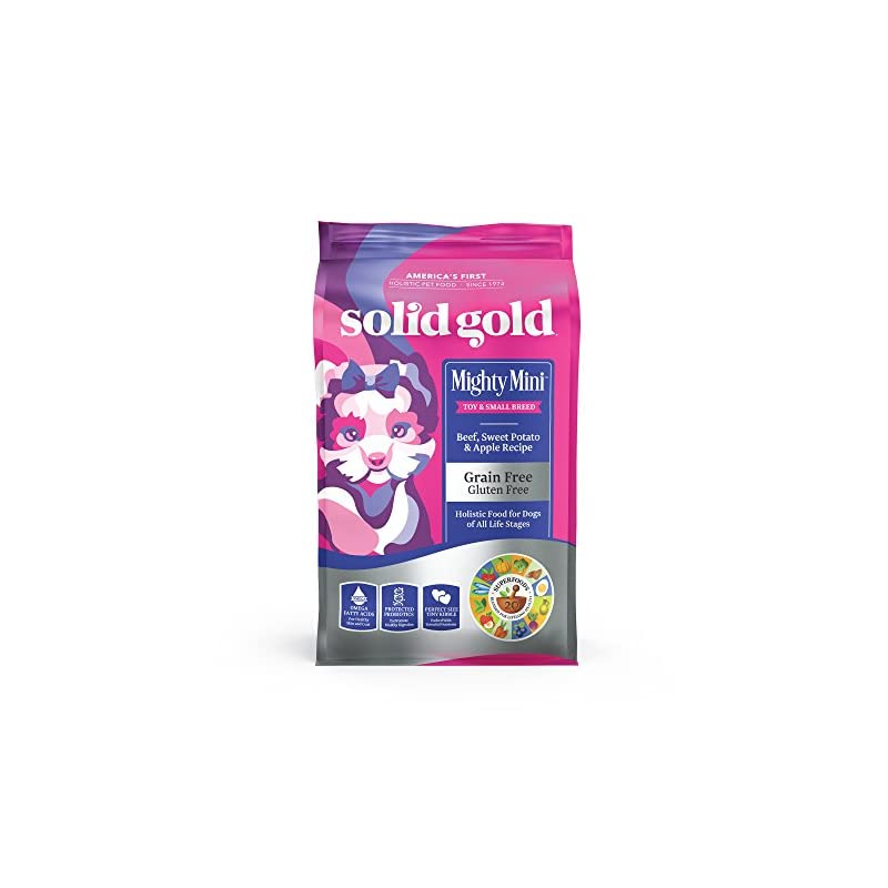 dog supplies online solid gold - mighty mini beef - small & toy breed wet & dry dog food - 11 lb bag - packaging may vary