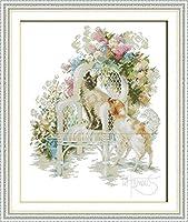 刺繍キットクロスステッチ刺しゅう工芸品花猫刺繍初心者手作りのの針仕事(11CT)大人の子供手芸ギフトキット家具装飾40x50cm,アユニークな家の装飾