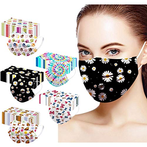 LiLiMeng 50PCS Disposable Face Msaks - 3-PLY Fashion Flower Butterfly Christmas Pattern Printed for Adults Face Bandanas, Dustproof Mouth Unisex (Multi E)