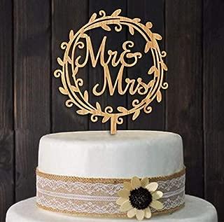 (LEAVE) - Mr Mrs Wood Wreath Cake Topper Birthday Cake Topper, Wedding Reception,Wedding Cake Decoration (LEAVE)