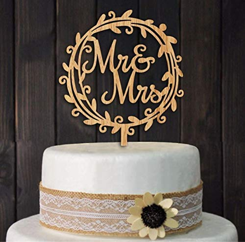 Giga Gud Mr Mrs Wood Wreath Cake Topper Birthday Cake Topper, Wedding Reception,Wedding Cake Decoration (Circle)