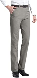 MogogoMen Non-Iron Cotton Straight-Fit High Waist Relaxed Business Pant