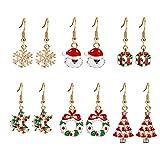 Demarkt–6Pares de moda mujer pendientes Árbol de Navidad Navidad Gorro Copo de nieve Pendientes creativos Navidad Pendientes Navidad decoración