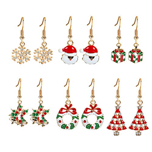 Demarkt 6 paar mode dames oorbellen kerstboom kerstmuts sneeuwvlok oorbellen creatief Kerstmis oorbellen Kerstmis decoratie