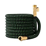 Garden Hose Flexible Expandable Retractable - GreenFriendlyHome No Kink Expanding Water Hose, Strongest Fabric Multi Latex Core, Solid Brass Fittings, Lightweight Heavy Duty (Black Green 50 FT)