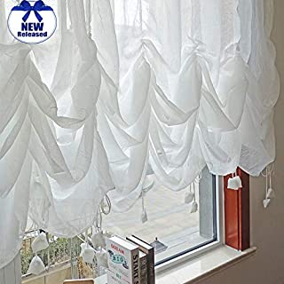 FADFAY Farmhouse White Lace Shabby Elegant Chic Sheer Curtain, Adjustable Tie-Up Curtain Shades, 1 Panel Shabby Tulle Curtains for Window