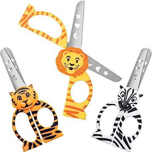 3 Pieces Toddler Safety Scissors Kids Craft Scissors Multipurpose Children School Training Scissors with Lion Tiger Zebra Designs for DIY Projects, Paper, Plastic Cutting