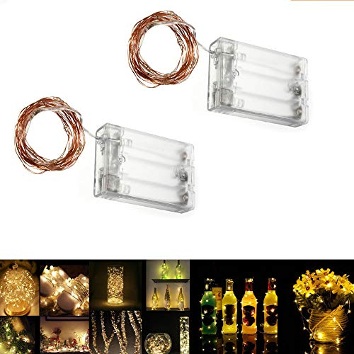 Pack of 2 sets LED SopoTek 7ft 20 LEDS Starry Lights Fairy Lights Copper LED Lights Strings AA Battery Powered Ultra Thin String Wire(Battery not included)