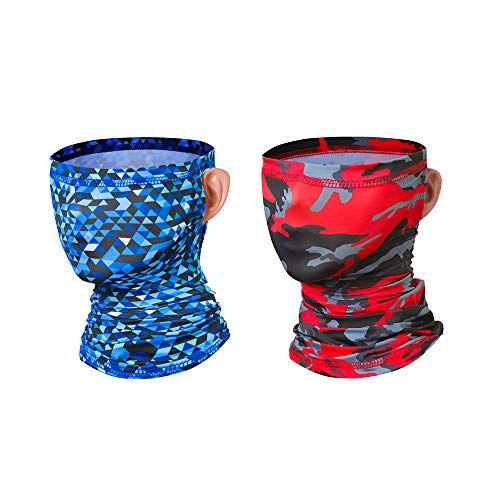 Outdoor Neck Gaiter with Ear Loops Cooling Face Cover UV Protection Summer Seamless Balaclava Bandana Sport Headbands Scarf for Men Women Hiking Riding Hunting (Pack of 2)