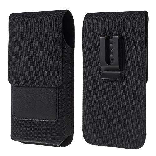 DFV mobile - Nuevo Diseño Funda Cinturón Clip Metálico Vertical Textil y Piel con Tarjetero para LG MS500 Optimus F6 (2013) - Negra