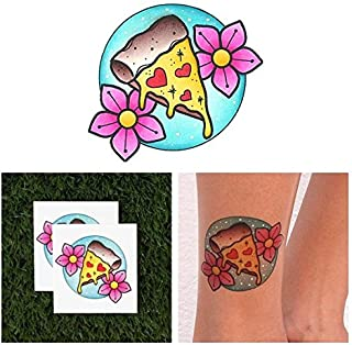 Tattify Pizza Temporary Tattoo - Slice of Life (Set of 2) - Other Styles Available - Fashionable Temporary Tattoos - Long Lasting and Waterproof