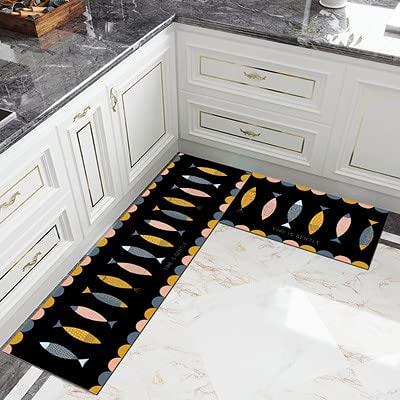 HLXX Alfombra de cocina antideslizante moderna larga alfombra de sala de estar balcón baño impreso alfombra pasillo geométrica alfombrilla de baño A6 40 x 120 cm
