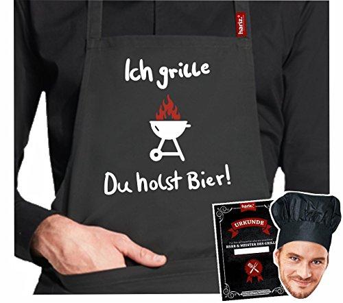 Rôtissoire.Tablier Hariz® de barbecue #Grill de la collection premium ; 24 motifs au choix ; noir, tablier avec certificat & toque, cadeau. #Grill24: Ich Grille. du Holst Bier !