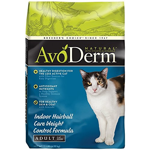Avoderm Natural Indoor Hairball Care Weight Control Formula Dry Cat Food, 11-Pound
