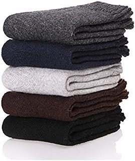 YunShuo, Calcetines de invierno para hombre, súper gruesos, cálidos, cómodos, de lana, paquete de 5 unidades, colores mezclados