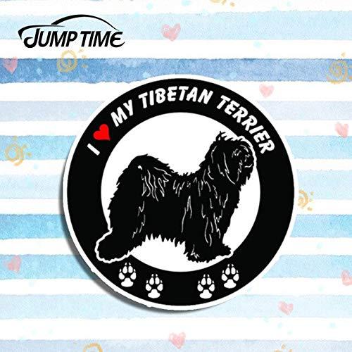 FAFPAY Autoaufkleber Sprungzeit 13cm x 13cm Ich Liebe Meinen tibetischen Terrier Hund runde Vinyl Aufkleber Abziehbilder Auto Stil Motor Fenster ZubehörStyle-1