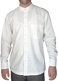 INMONARCH Mens Long Sleeve Cotton Nehru Collar Shirt NSH06 White