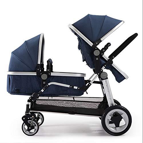Baby trolley Poussette Double de Convertible en Poussette pour bébé et Panier de Couchage, configurations de sièges Multiples, Repliable d'une Main, siège réglable, Grand Espace de Rangement