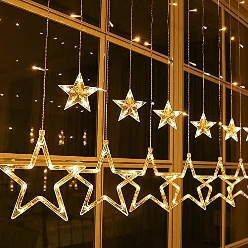 Qedertek LED Sterne Lichterkette, 138 LED Lichtervorhang Lichterkette Warmweiß 8 Leuchtmodi Innen Lichterkette für Weihnachten Deko, 2m x 1m