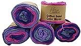 Cotton Royal 22-08 - Ovillo de lana (100 g, 100% algodón, 500 g), multicolor